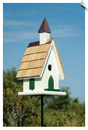 Country Wildwood Church Birdhouse