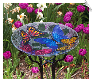 Butterfly Collage Glass Bird Bath