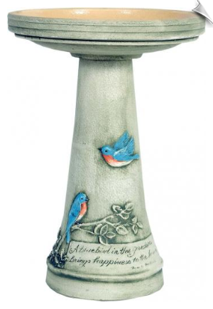 "Clay Bluebird Bird Bath <br><span style=""color:#1954e9;"">New Item!</span>"