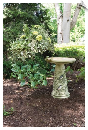 "Clay Chickadee Bird Bath <br><span style=""color:#1954e9;"">New Item!</span>"