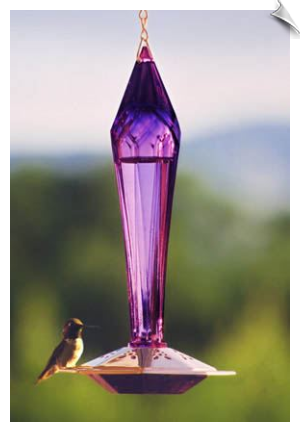 "Faceted Glass and Copper Hummingbird Feeder <br> 3 Bottle Colors<br><span style=""color:#1954e9;"">New Item!</span>"