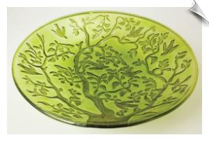Tree of Life Glass Birdbath