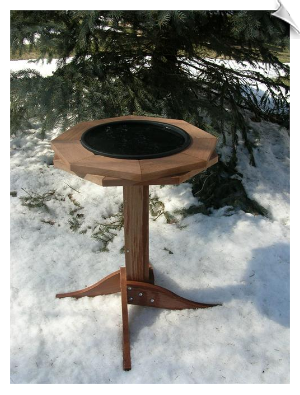 "Western Red Cedar Heated Bird Bath <br><span style=""color:#1954e9;"">New Item!</span>"