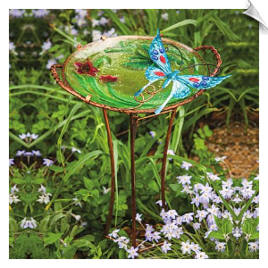 Sculpted Butterfly Birdbath with Stand