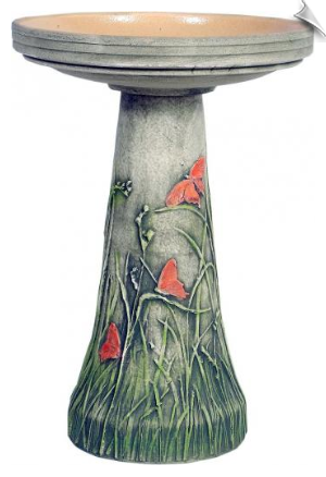 "Clay Butterfly Meadow Bird Bath <br><span style=""color:#1954e9;"">New Item!</span>"