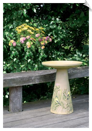 "Clay Gold Finch Bird Bath <br><span style=""color:#1954e9;"">New Item!</span>"