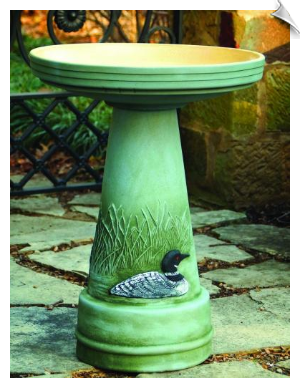 "Clay Great Northern Loon Bird Bath <br><span style=""color:#1954e9;"">New Item!</span>"