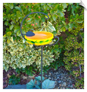 "Handpainted Foliage Snack Stake Feeder <br><span style=""color:#1954e9;"">New Item!</span>"