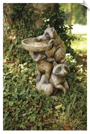 Racoon Pedestal Bird Bath/Bird Feeder