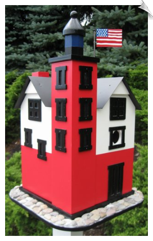 "Round Island Lighthouse Birdhouse <br><span style=""color:#1954e9;"">New Item!</span>"