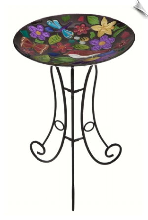 Summer Menagerie Glass Birdbath Set