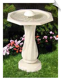 Water Rippling Birdbath With Pedestal and Water Wiggler