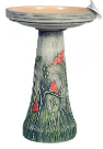 "Clay Butterfly Meadow Bird Bath <br><span style=""color:#1954e9;"">New Item!</span> (SKU: BCBUTTERFLY-bc)"