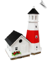 "Montauk Point Lighthouse Birdhouse <br><span style=""color:#1954e9;"">New Item!</span>"
